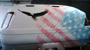 Wohnwagen im Stars and Stripes Design